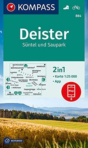 KOMPASS Wanderkarte Deister, Süntel und Saupark: 2in1 Wanderkarte 1:25000 inklusive Karte zur offline Verwendung in der KOMPASS-App. Fahrradfahren. (KOMPASS-Wanderkarten, Band 864)