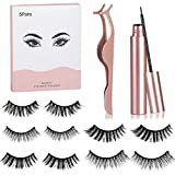 Magnetic Eyelashes with Eyeliner Natural Look, Reusable Magnetic Lashes, Best Magnetic Eyeliner, Upgraded 3D Magnetic Eyelashes Kit Natural Looking with Tweezers Inside [5 Pairs]