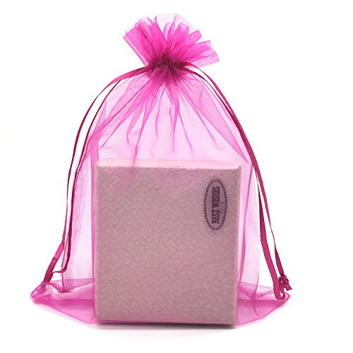 SUNGULF 100pcs Organza Pouch Bag Drawstring 6'x9' 16x22cm Strong Gift Candy Bag Jewelry Party Wedding Favor (Hot Pink)