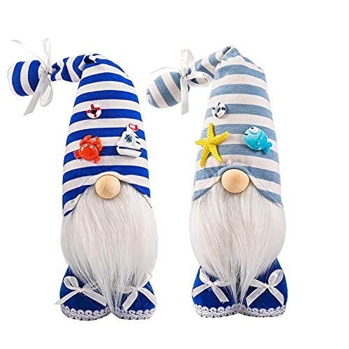 Holiday Gnome World Oceans Day Decoration Plush Faceless Collectible Figurine Home Party Festival Handmade Gift Nautical Gnome Mermaid Kitchen Tiered Tray Elf Tomte Swedish Dwarf