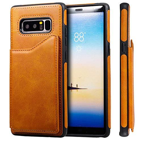Funda de piel sintética tipo cartera con soporte de visualización y ranuras para tarjetas, a prueba de golpes, marrón, Samsung Note 8