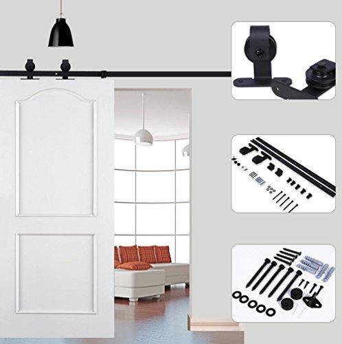 183cm/200cm deslizante Riel ruedas rodillos Hardware de la puerta, puerta corredera Door Hardware Kit, scivolante Barn Wood Closet Track Set