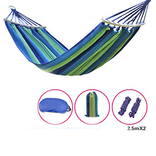 MMWYC Hammock Camping Outdoor Hammock, Camping Stick Canvas Breathable Portable Leisure Single Hammock Garden Hammock Blue 180X100cm(71X37.4in)