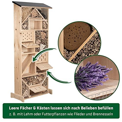 Gardigo Insektenhotel XXL Made in Germany, Hergestellt in einer sozialen Einrichtung   Insektenhaus für den Garten   Nisthaus für Wildbienen, Florfliegen, Marienkäfer und Schmetterlinge, aus Holz