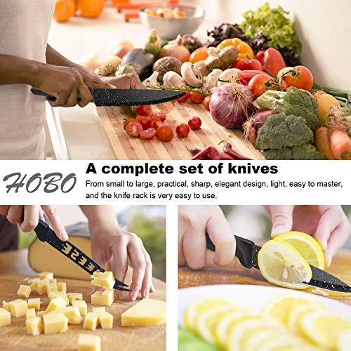 Kitchen Block Knife Set, HOBO 17Pcs Kitchen Knives Set, German Stainless Steel Chef Set with Acrylic Block, 6 Steak Knives, Professional Non-Slip Handle, Kitchen Scissors