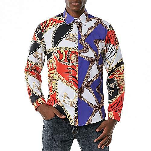 Regalo Reflexivo Manga Larga Camisa de los Hombres del Estilo de Palacio Europeo de la Cadena de impresión Ocasional de la Camisa de poliéster de Fibra Camisas de Hombre (Color : C1, Size : L)