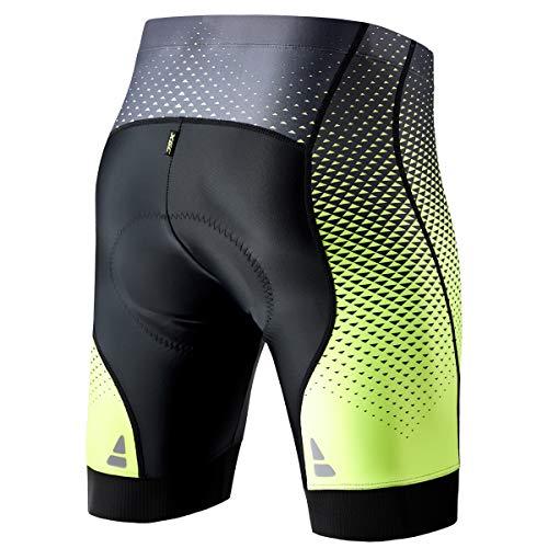XGC Herren Kurze Radlerhose und Radunterhose Radsportshorts Fahrradhose für Männer elastische atmungsaktive 4D Schwamm Sitzpolster mit Einer hohen Dichte (S, Black_Green) - 4