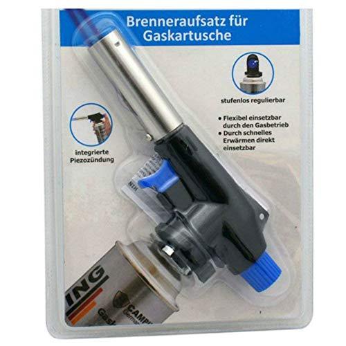 TronicXL Aufsatz Lötbrenner für Butan Gas Kartuschen - Löt brenner Gasbrenner Gasanzünder Lötlampe mit Piezozündung Bajonett Anschluss - OHNE Gaskartuschen