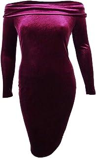 Women's Petite Off-The-Shoulder Velvet Sheath Dress