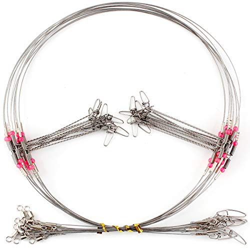 10 Pcs Fishing high-Low Bottom Rigs 2 Drop Arm Wire Leader with Snap Barrel Swivel Trace Eagle Claw Snelled Stainless Steel High-Strength Fishing Wire for Saltwater Freshwater