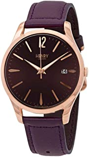 Henry London Ladies Analogue Hampstead Watch with Purple Leather Strap HL39-S-0080