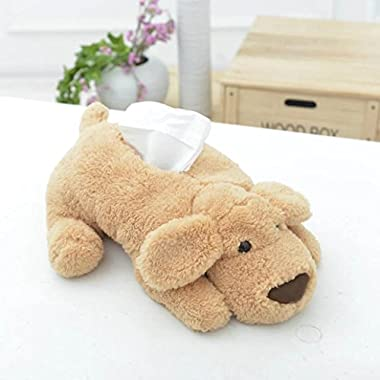 Tissue Box Cover Cute Teddy Dog Soft Plush Towel Box Tissue Paper Boxes For Car Home Decor By Makaor (Size:42cmx27cm, Brown)