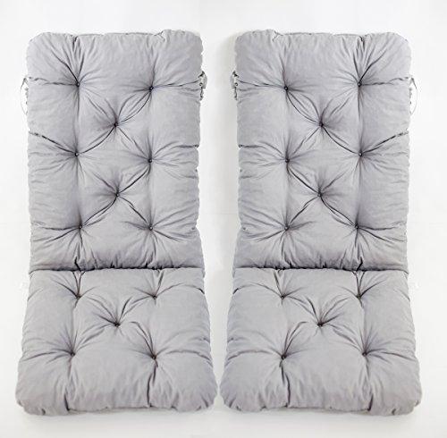 Ambientehome 2er Set Hochlehner Auflage Kissen Hanko Maxi, grau, ca 120 x 50 x 8 cm, Rückenteil ca 70 cm, Polsterauflage