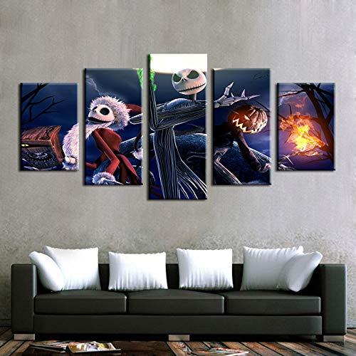 N/R Bilder Wandbild Halloween-Ideen 150x80cm Vlies Leinwand Bild Format Wandbilder Wohnzimmer Büro Deko Kunstdrucke 5 Teilig Wanddekoration Wandbild