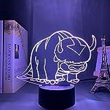 3D Illusion Lampe Led Veilleuse Lampe De Table Avatar Le Dernier Maître De L'Air Pour Enfants Pépinière Décor La Légende D'Aang Appa Acrylique