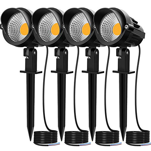 MEIKEE 7W LED Landscape Lights Low Voltage Outdoor Spotlight LED Pathway Lights Landscape Light Warm White IP66 Waterproof for Driveway, Yard, Lawn, Flood, Swimming Pool, Outdoor Garden Lights 4 Pack