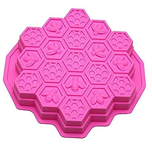 LXCS 19 Hoyos Molde de la hornada - Molde de Nido de Abeja Torta del silicón de Hornear el Pastel de Helado de Chocolate del Molde Bandeja de Horno (Color : Pink)