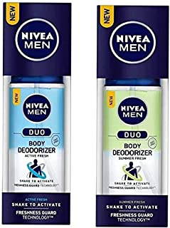 Nivea Men Duo Active Fresh and Summer Fresh Body Deodorizer 100ml+100ml, pack of 2