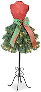 Prime Holiday Celebrations Merry Christmas Dress Form Tree with 70 Clear Lights and Sparkling Bodice, 4 Feet Tall with Stand