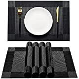 AHHFSMEI Placemats for Dining Table Set of 6 Woven Vinyl Plastic Place Mats Non-Slip Heat Insulation Stain Resistant Table Mats Washable Easy Clean Placemats (Black Corner)