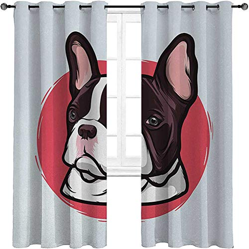 carmaxshome Animal Blackout Curtain 84 inch Length, Cute French Bulldog Artistic Portrait Hipster Purebred Creature Pet Illustration Custom Curtains 2 Panels - Pink Brown
