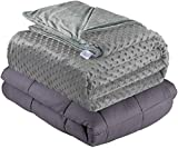 """Quility Weighted Blanket for Kids or Adults - Heavy Heating Blankets for Restlessness (36""""x48"""", 5 lbs), Grey Blanket with Grey Duvet Cover"""