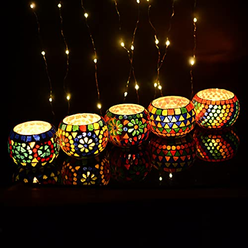 Inside Pink Walls Mosaic Glass Tealight Candle Votive Holders for Home Decoration and Gifts, Christmas Party Decorations,Vase for Potted Plants Bowl Set of 5 Pcs