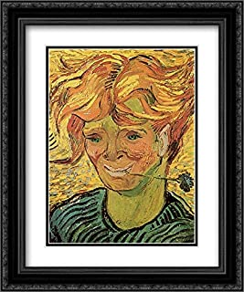 Young Man with Cornflower 20x24 Black Ornate Frame and Double Matted Museum Art Print by Vincent Van Gogh