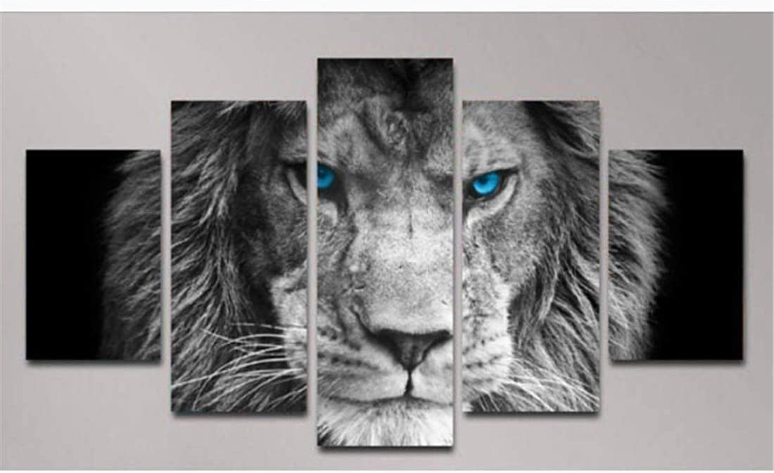Blue Eyed Tiger Animal Wildlife 5 Pieces Canvas Print Poster HOME DECOR Wall Art