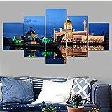 DBFHC Art Cuadros En Lienzo Bandar SERI Begawan Brunei Decoracion De Pared 5 Piezas Modernos Mural Fotos para Salon Dormitori Baño Comedor 150X100Cm