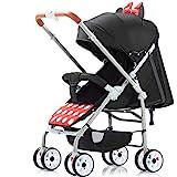 Sillita Plegable del Recorrido del Carro de bebé - Cochecito de mentir Sistema de Viaje Viaje mothercare Prueba de Golpes portátil Función, Apto for bebés de Entre 0~4 (Color : Minnie)