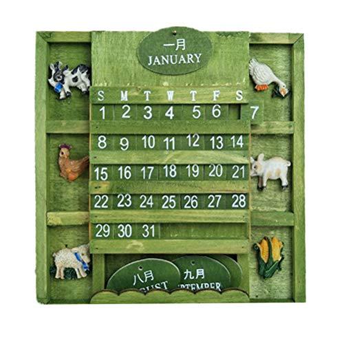 SUPVOX Mini Calendario de Escritorio perpetuo de Madera Calendario de Escritorio perpetuo Bloques Adornos de Escritorio Vintage Decorciones (Verde)
