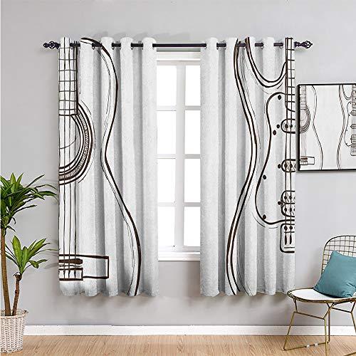 Pcglvie Cortina de guitarra linda cortina, cortinas de 213 cm de largo dibujado a mano monocromo ilustración de instrumentos de dos tipos de música, fácil de instalar, marrón oscuro, blanco