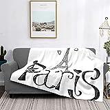 Mantas de forro polar ultra suaves, ilustración con silueta de forma de corazón de la torre Eiffel de Francia, arte decorativo de Vaion, suave y ligera para cama, sofá, sala de estar, 60 'x 80'
