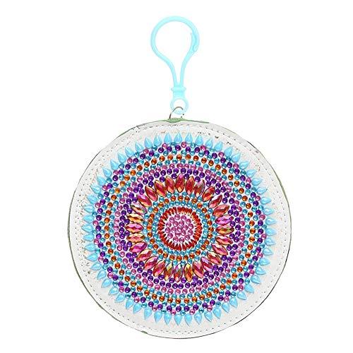 Monedero de diamantes 5D, con forma especial, con diseño de mandala, bordado, monedero