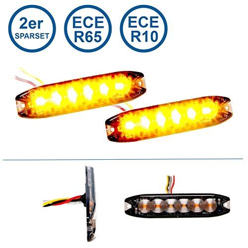 LED-MARTIN 2er Sparset R65 Blitzmodul SF6 - super flach - 12V 24V - mit ECE-R65 Zulassung - Als Frontblitzer, Stauwarner, Heckwarnanlage für PKW, LKW geeignet.