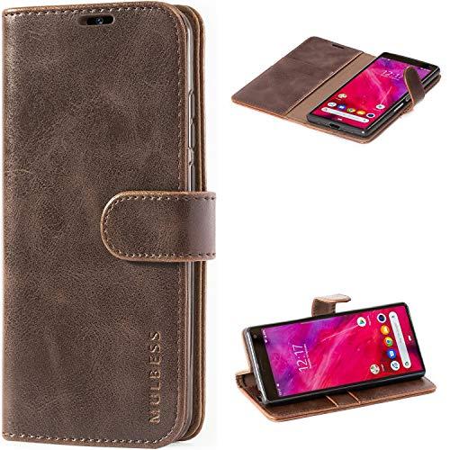 Mulbess Handyhülle für Sony Xperia 10 Hülle Leder, Sony Xperia 10 Handy Hüllen, Vintage Flip Handytasche Schutzhülle für Sony Xperia 10 Hülle, Kaffee Braun