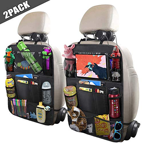 "ULEEKA Car Backseat Organizer with 10"" Table Holder, 9 Storage Pockets Seat Back Protectors Kick Mats for Kids Toddlers, Travel Accessories, Black, 2 Pack"