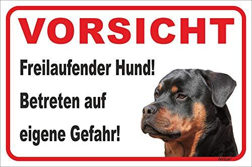 AdriLeo Schild - Vorsicht Rottweiler - Freilaufender Hund - (20x30cm) / Achtung Wachhund