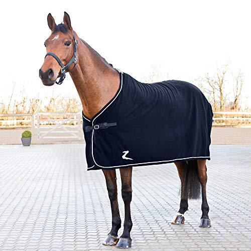 horze Fleece Turnier Abschwitzdecke Pferdedecke, Decke fur Pferd, Blau, 145