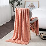 TREELY Coral Orange Throw Blanket with Fringe Tassels Knitted Throw Blanket Textured Solid Decorative Knit Blanket for Bed Couch, 50' x 67.7', Coral Orange