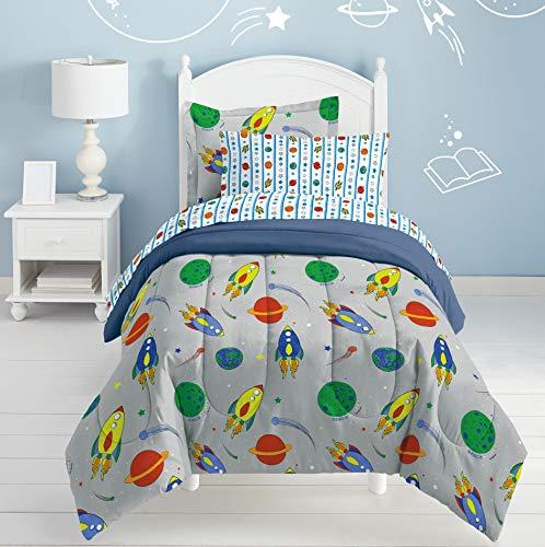 Dream Factory Space Rocket Ultra Soft Microfiber Comforter Set, Multi-Colored, Twin,2A745901MU