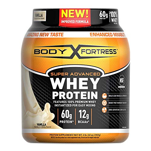Body Fortress Super Advanced Whey Protein Powder, Gluten Free, Vanilla, 4 Pound