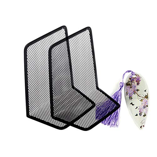 LRZCGB Metal Mesh Bookends Desktop Stand Book Holder Bookmark Decoration for Office Library School