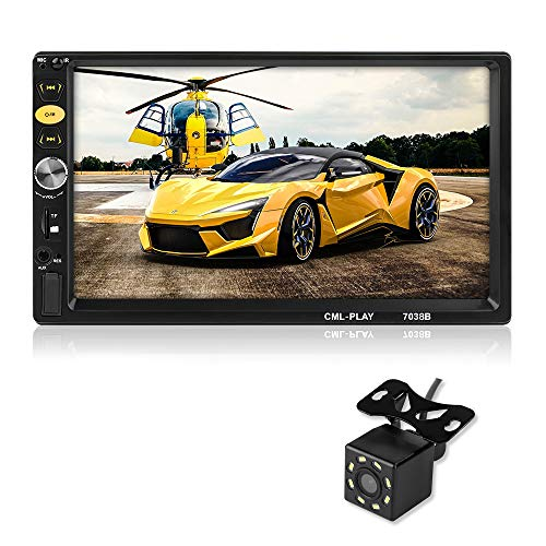 MiCarBa Universele 7-inch HD 1024 * 600 Dubbele Din Auto Stereo Video Speler, Touch Screen Auto Stereo met Afstandsbediening Ondersteuning FM Android 4.0-8.0 Spiegel Link Achterste Camera (CL7038B)