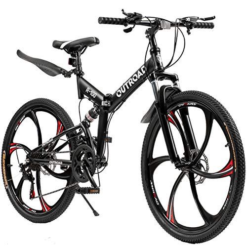 Outroad Folding Mountain Bike 6-Spoke 21-Speed 26-inch Wheel Double Disc Brake Full Suspension Anti-Slip, Black