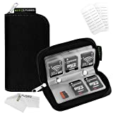Eco-Fused Memory Card Carrying Case - Suitable for SDHC and SD Cards - 8 Pages and 22 Slots - Microfiber Cleaning Cloth Included - 22 Slots, Black