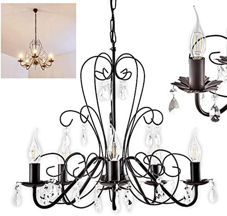 Kronleuchter Sirma aus Metall in Braun, Hngelampe 6-flammig, 6 x E14 je 40 Watt, klassische Pendelleuchte mit Zierkristallen, geeignet für LED Leuchtmittel, Vintage Retro Design