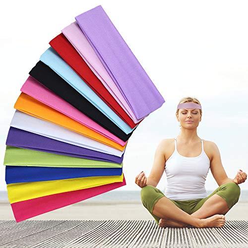 Kungfu Mall 13 diademas de algodón para yoga, diademas elásticas, colores mezclados, bandas deportivas para la cabeza para mujeres y niñas, deportes, pilates, fitness