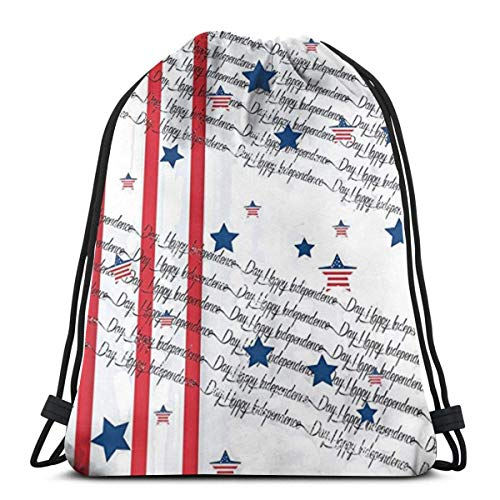 AEMAPE Drawstring Bags Fourth Of July Independence Day Backpack Pull String Bags Storage Gym For Children Shoulder Travel Rucksack